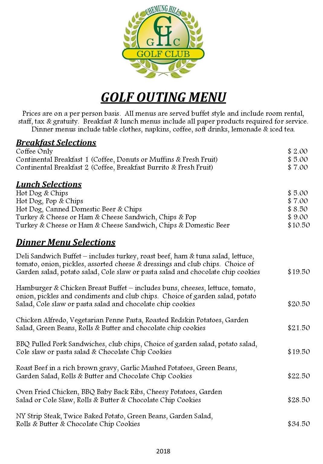 Golf Outing Menu 2018